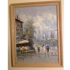 Vintage Moulin Rouge in Paris signed painting